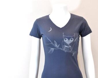 Sorty Vneck Owl Ninja woman Tee