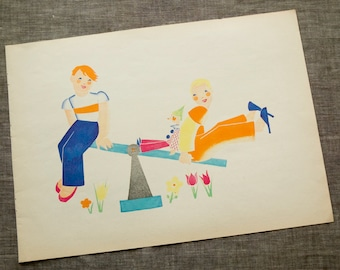 1935 Vintage Children's Illustration by Lotte Schmeil