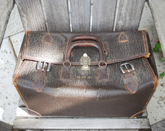 Vintage Leather Satchel Luggage Doctor Bag