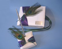 Peacock Theme Wedding Guest Book and Pen Set in White or Ivory with Custom Colors and Personalized Engraving