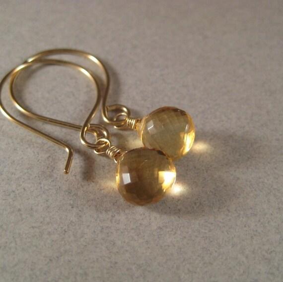Beer Quartz Earrings, Faceted Gemstone Earrings, Faceted Briolette Earrings, Gold Quartz Earrings, Gold-Fill Earrings