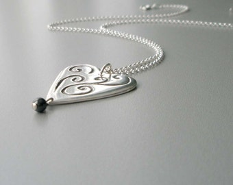 Handcrafted Silver Necklace, Heart Pendant Necklace, Fine Silver Necklace, Artisan Jewelry, Heart Necklace, Heart with Sterling Chain, OOAK