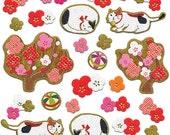 Cat  Stickers -  Plum Blossom Stickers - Japanese Stickers - Chiyogami Stickers -  Washi  Paper Stickers - Traditional Japanese (S81)