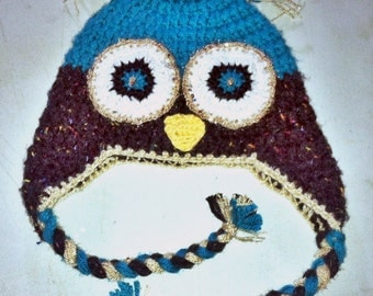 Owl Hat with Bling-Crochet