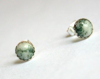 Trees - Sterling Silver and Tree Agate Stud Earrings