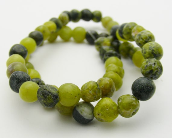"Yellow ""Turquoise"" (Jasper and Quartz Mix) (Natural) 5-7mm Round Beads"