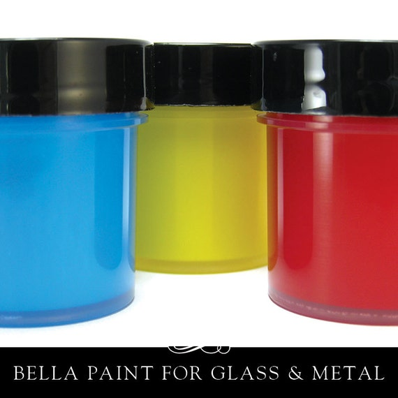 Bella paint for glass clay and metal opaque glossy by for Best paint to use on glass jars