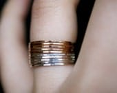 Sterling Silver and Gold Mixed Metal stacking ring set of 10, Ultra Thin, gold and silver stack rings, gold stackable ring, mixed metal