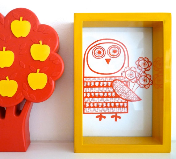 Hand Pulled Mini Retro Owl Screen Print by Jane Foster