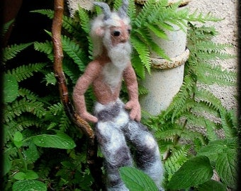 Faun, needle felted, Pan, satyr, art doll