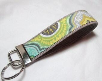 Wristlet Key Fob Key Chain - Oliva Flourish Damask - Fabric Keychain on Gray Ready to Ship
