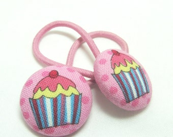 Ponytail holder Hair Ties - Cupcakes with a Cherry on Top - fabric covered button hair ties