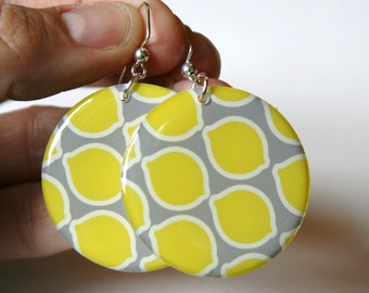 Bright Lemon Yellow & Gray Large Resin Earrings with teal backs