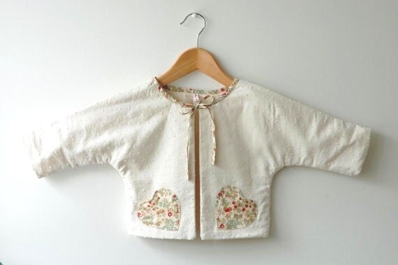 SALE: 50% discount on baby girls jacket size 6 months - swiss dot with liberty tana lawn trim