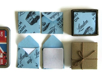 Blue London Stationery Set, Blank Note Cards, Square Envelopes, Blank, Cute, London Bus, Keep Calm and, Gifts Under 15, Gift Tags, Greetings