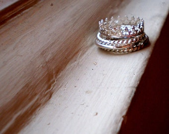 Pretty as a Princess - Sterling Silver Ring Stack - Set of Four