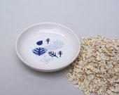 Ceramic saucer - coral - sea level