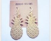 Pineapple Tropical Fruit Brass Charm Earrings Jewellery Exotic Jewellery Fruity