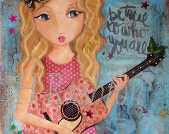 Guitar Girl Art, Musician Art, Music Art, Mixed Media Art,  Folk Art, Country Chic,Shabby Girls Decor - 8 x 8