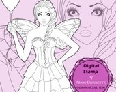 Digital Stamp - Printable Coloring Page - Fantasy Art - Valentines Day Fairy Stamp - Lacy - by Nikki Burnette - COMMERCIAL USE