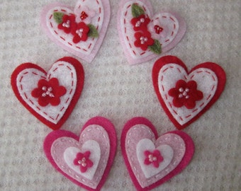 6 Hot Pink Red and Pink Felt Hearts