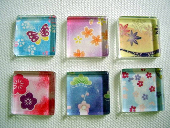Made to order / 6 chiyogami washi mini glass tile magnets