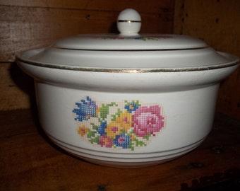 Vintage Bakerite Covered Bowl