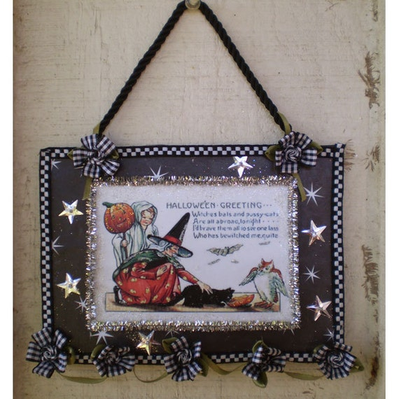 witch home decor wall hanging vintage style decoupage ornament Halloween decoration