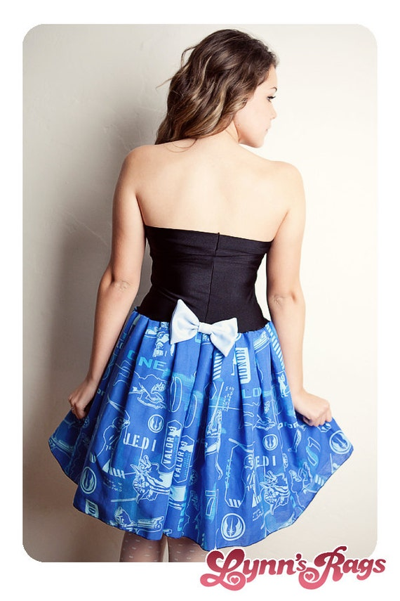 STAR WARS Clone Wars Blue DRESS Handmade Bow