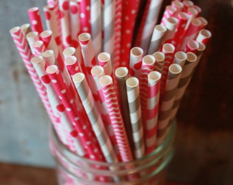 Pink and Gray Paper Straws -- Set of 20 -- stripes, chevron, dots Grey
