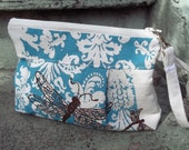 Dragonfly Wristlet Tea Stained Robins Egg Blue Damask