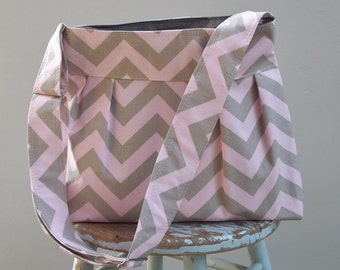 Pink Grey Chevron Diaper Bag - Adjustable Strap Six Pockets Attaches to Stroller