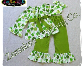 St. Patrick's Day Girl Outfit Pant Set Green White Custom Boutique Clothes Toddler Baby Infant 3 6 9 12 18 24 Month Size 2t 3t 4t 5t 6 7 8