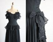 SALE / vintage 1930s dress / 30s dress / long black gown