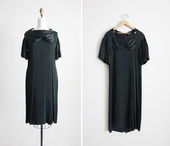 FINAL SALE / black bow dress / vintage 30s dress / 1920s silk dress