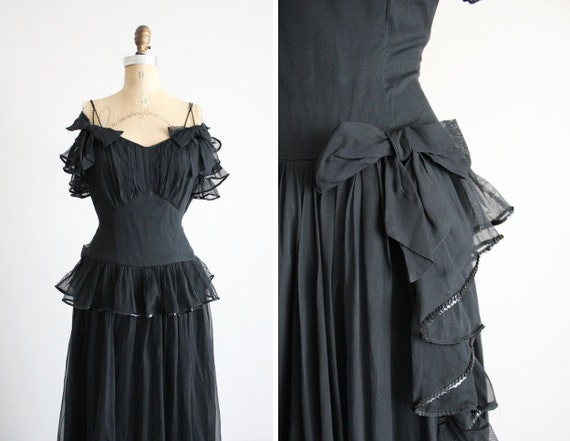 SALE / vintage 1930s dress / 30s dress / long black gown