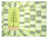 Mixed Media Block Printed Art with Pine Tree Illustration on Wood, Original Art by Erin Lang Norris