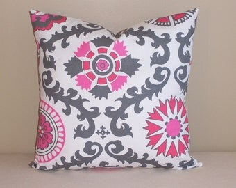 Decorative Throw Pillow Cover 18x18 Flamingo Pink and Gray Rosa FREE SHIPPING