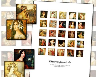 "Elizabeth Sonrel inchies digital collage sheet 1"" square 25mm fine art paintings of beautiful women"