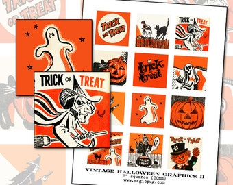 Vintage Halloween Graphics II digital collage sheet 2 inch square two 50mm for badge pinback button black orange cat witch jack o'lantern