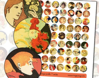 """Antique French Poster 1 inch circles digital collage sheet  Belle Époque 25.4mm 25mm 1"""""""