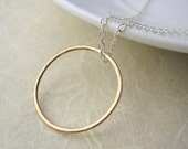 Gold Full Circle Necklace  - handcrafted 14k gold fill and sterling silver jewellery