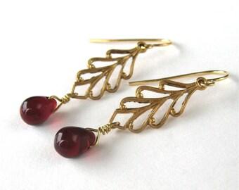 Garnet Red Teardrop Earrings, Brass Leaf Earrings Dangle, Hook Ear Wires, Golden Openwork Leaves, Dark Red Glass Drops, Handmade, Mariana