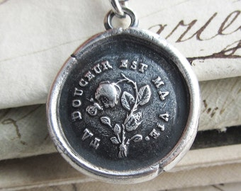 Flower & Butterfly French Wax Seal Necklace - Your Sweetness is my Life -  love necklace in fine silver - FR510