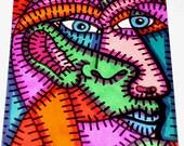 Original Drawing ACEO Multi Colored Face Design