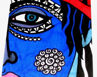 Original Drawing ACEO  Blue Face and Eye Design