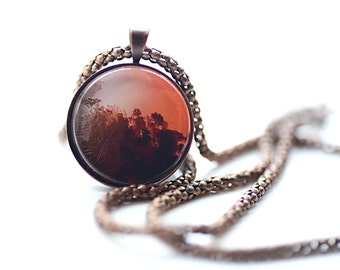 Sunset Above The Trees, Vintage Copper, Photography, Photo Jewelry