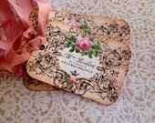 French Tags - French Flowerseller Tags - Vintage French Tags -  Roses Tags - Set of 4