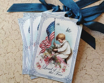 Vintage Patriotic Tags - Vintage Flag Tags - Fourth of July Tags, Land of the Free- Set of 4
