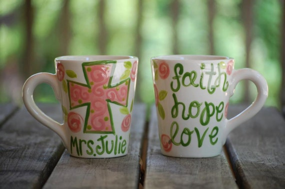 Cross & Bible Verse Personalized Mugs - handpainted and personalized for moms, teachers, sunday school, and more